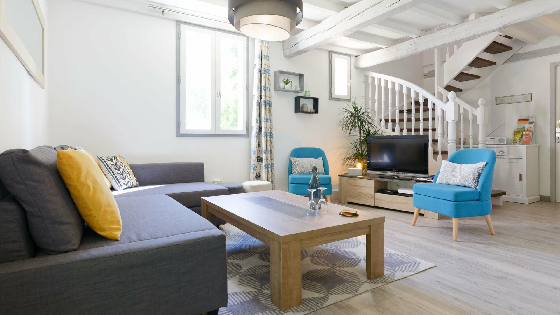 Living Room, Gite La Maison Bleue, Savignac-Mona, Lombez, Samatan, Savès, Gascogne, Gers, France