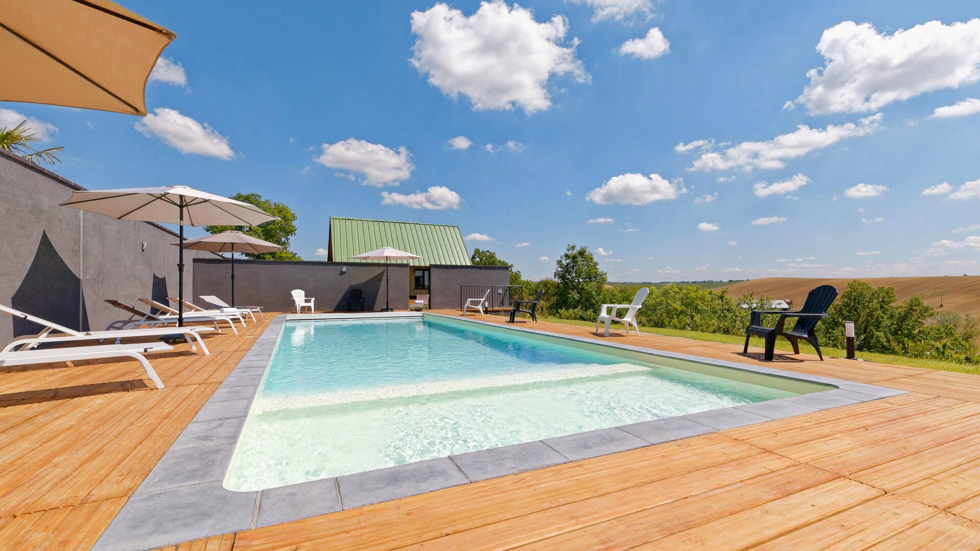 Swimming Pool, Gite La Maison Bleue, Savignac-Mona, Lombez, Samatan, Savès, Gascogne, Gers, France