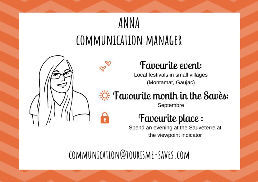 Anna, communication manager, Savès Tourist Information Centre.